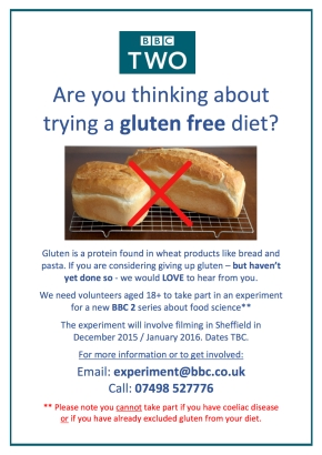 Take part in a gluten investigation on BBC2