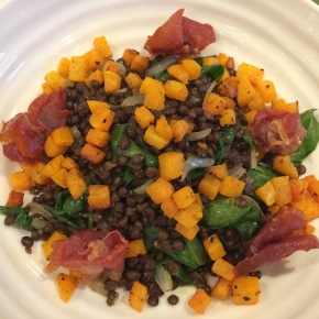 Puy lentils with squash and ham